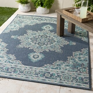 "Cesare Navy Medallion Indoor/Outdoor Area Rug - 3'6"" x 5'6"""
