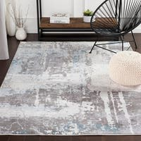 "Turing Contemporary Grey/Blue Area Rug - 3'11"" x 5'7"""