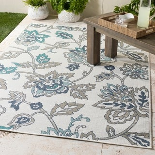 "Cesarina White Floral Indoor/Outdoor Area Rug - 3'6"" x 5'6"""