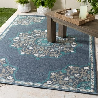 "Erminio Navy Medallion Indoor/Outdoor Area Rug - 3'6"" x 5'6"""