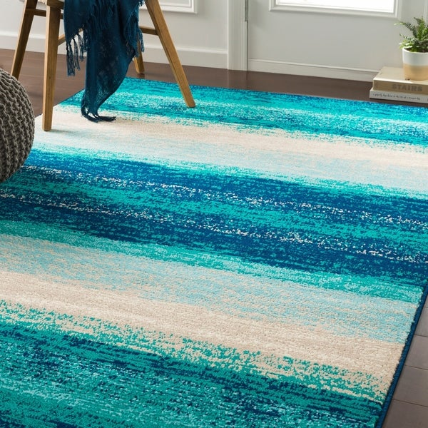 """Nurzhan Teal Contemporary Striped Area Rug - 6'7"""" x 9'6"""""""