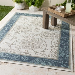 Teofila Transitional White & Navy Indoor/Outdoor Accent Rug - 2'3 x 4'6