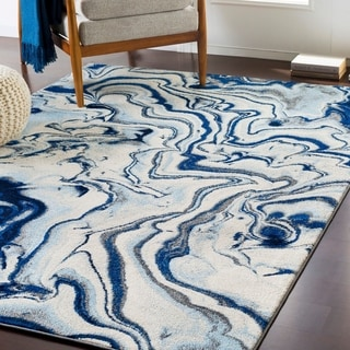 Cecelia Contemporary Navy Accent Rug - 2' x 3'