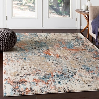 "Porch & Den Highcreek Orange & Teal Abstract Area Rug - 9'3"" x 12'3"""