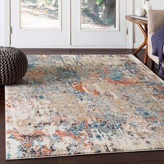 "Porch & Den Highcreek Orange & Teal Abstract Area Rug - 7'10"" x 10'3"""
