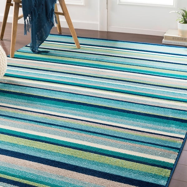 Shop Godric Teal Striped Accent Rug 2 X 3 On Sale