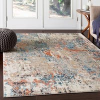 Kavitha Abstract Orange & Teal Accent Rug - 2' x 3'