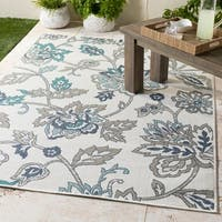 "Cesarina White Floral Indoor/Outdoor Area Rug - 5'3"" round"