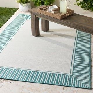 "Felice Teal Border Indoor/Outdoor Area Rug - 7'3"" Round"