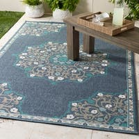 "Erminio Navy Medallion Indoor/Outdoor Runner - 2'3"" x 11'9"""
