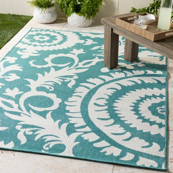 Teal Floral Area Rug: Shop Scilla Transitional Floral Teal Indoor/Outdoor Area
