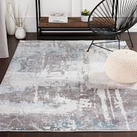 Turing Contemporary Grey/Blue Area Rug - 5'3 x 7'6