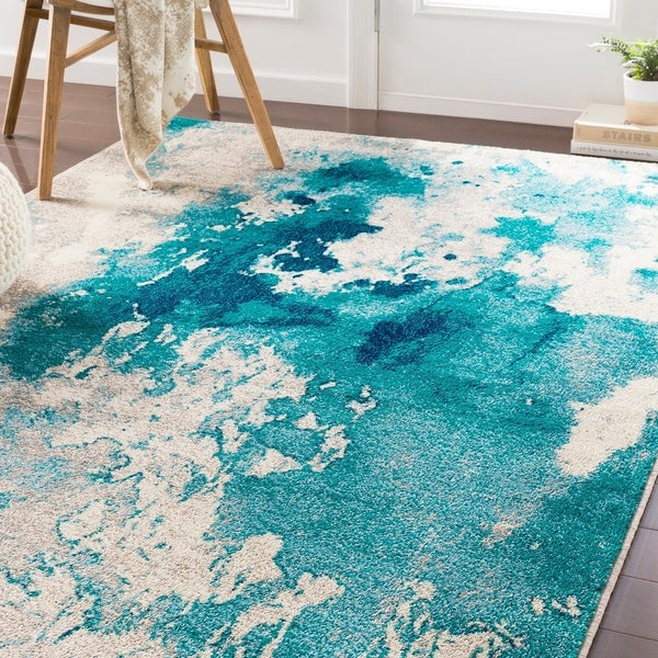 Shop Milana Teal Abstract Area Rug 5 3 Quot X 7 6 Quot On Sale