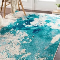 "Milana Teal Abstract Area Rug - 5'3"" x 7'6"""