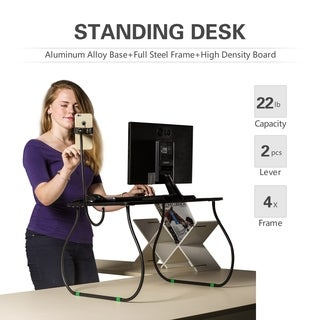 Height adjustable laptop stand desk riser w/ Smartphone holder