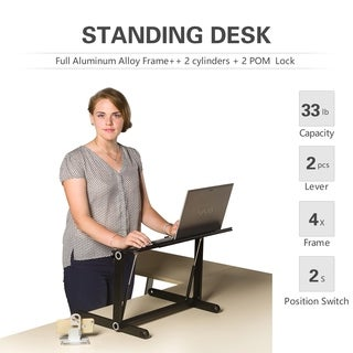 Rxmoo Height Adjustable Sit Stand Desk/Table Laptop Folding Desk