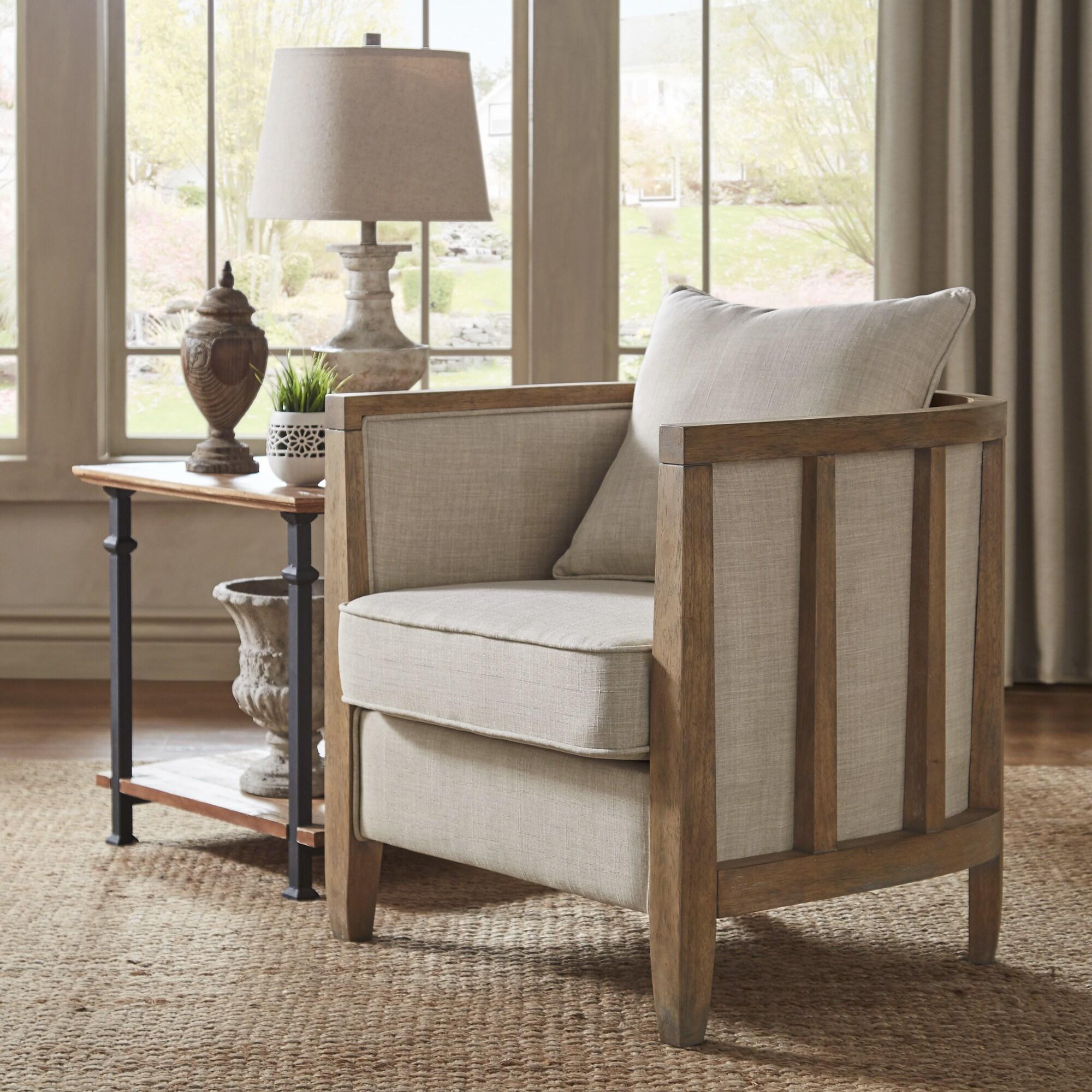 Rumi Exposed Wood Beige Linen Barrel Accent Chair by iNSPIRE Q Artisan (Beige Linen)