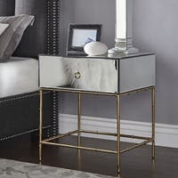 Wade Mirrored Accent Table with Gold Finish Base by iNSPIRE Q Bold