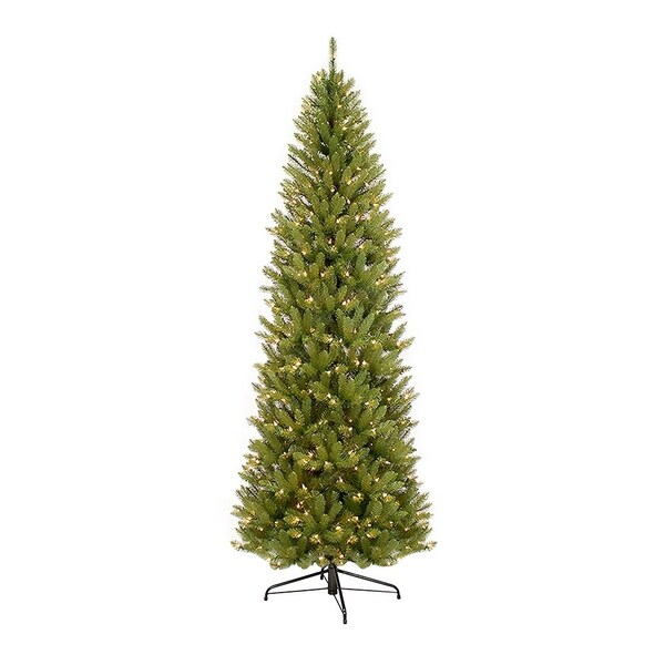 puleo international 10 ft pencil fraser fir pencil christmas tree with 650 clear lights - 10 Ft Artificial Christmas Trees