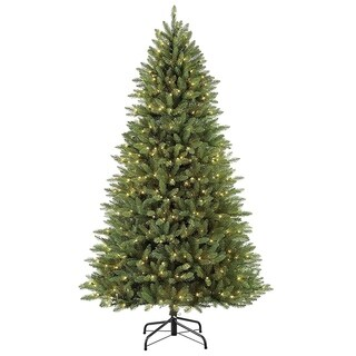 Puleo International 7.5 ft Slim Fraser Fir Christmas Tree with 600 Clear Lights
