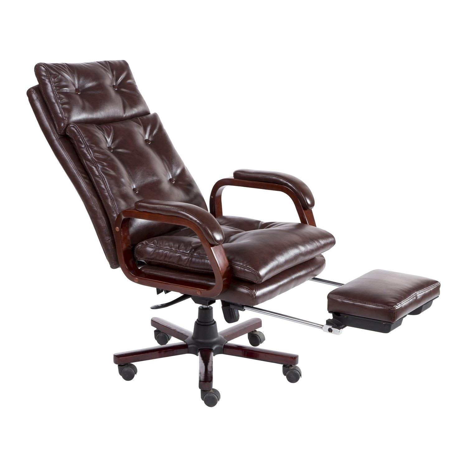 HomCom High Back PU Leather Executive Reclining Home Office Chair With Retractable Footrest (High Back)