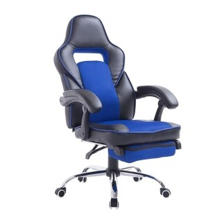 HomCom High Back Racing Style Ergonomic Gaming Chair With Retractable Footrest - Blue / Black