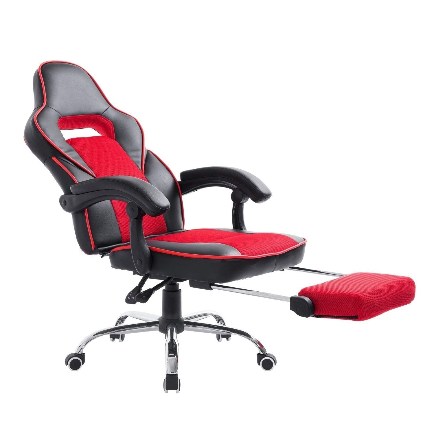 HomCom High Back Racing Style Ergonomic Gaming Chair With Retractable Footrest - Red / Black (High Back)