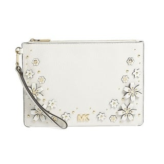 Michael Kors Medium Floral Embellished Leather Pouch - Optic White