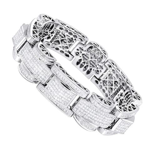 14K Gold Unique Princess Cut Diamond Bracelet for Men 3ctw G/VS Diamonds by Luxurman
