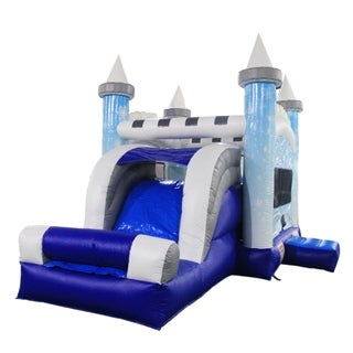 ALEKO Commercial Grade Bounce House Snowflake Castle Slide with Blower - 20 x 13 x 13 feet