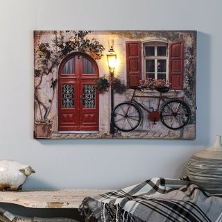 Tuscan Cottage and Bike Print with LED Lights