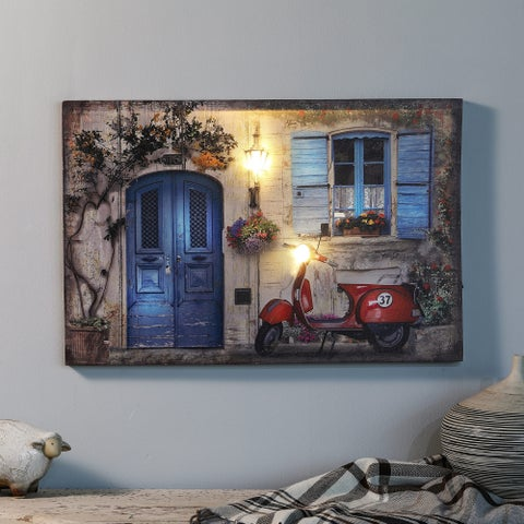 Tuscan Cottage and Motorbike Print with LED Lights