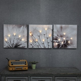 Set of 3 Dandelion Prints with LED Lights - Grey