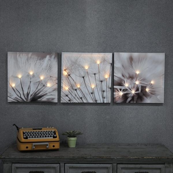 Set of 3 Dandelion Prints with LED Lights - Grey
