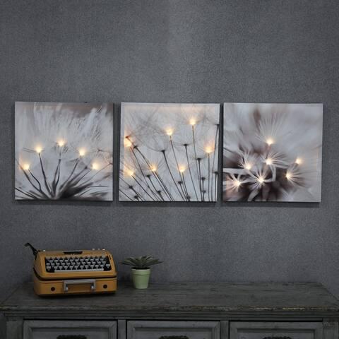 Set of 3 Dandelion Prints with LED Lights