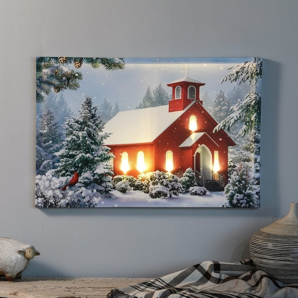 Winter Wonderland and Church Print with LED Lights. Opens flyout.