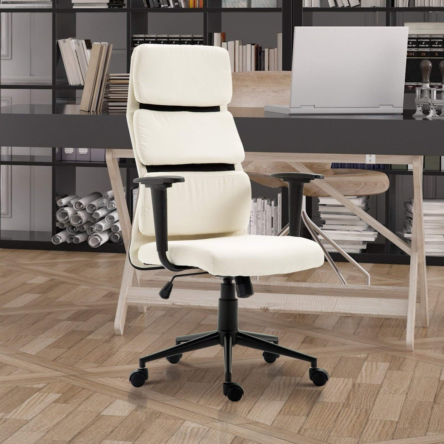 HomCom Lumbar Support Desktop Computer Chair with Arms - Cream White