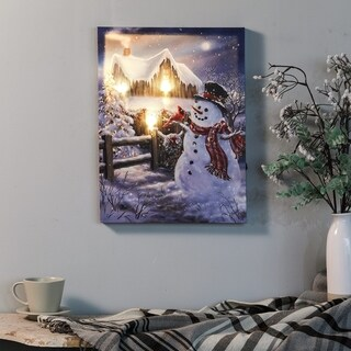 Winter Wonderland Snowman Print with LED Lights