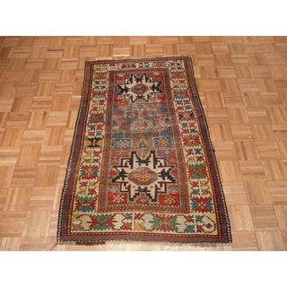 """Hand Knotted Multi Colored Fine Kazak with Wool Oriental Rug - 2'8"""" x 4'9"""""""