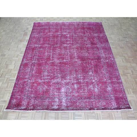 """Hand Knotted Pink Tabriz with Wool Oriental Rug - 9'9"""" x 12'6"""""""