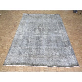 """Hand Knotted Gray Tabriz with Wool Oriental Rug - 9'5"""" x 13'"""