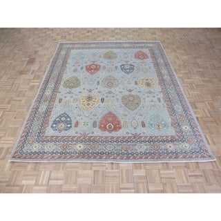 """Hand Knotted Sky Blue Peshawar with Wool Oriental Rug - 8'1"""" x 9'11"""""""