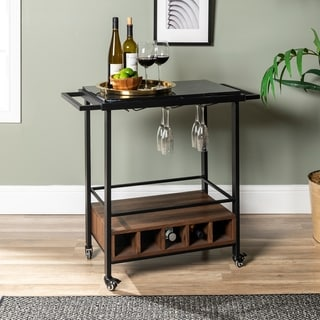 Faux Marble Serving Bar Cart with Dark Walnut Base