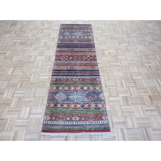 """Hand Knotted Multi Color Khorjin with Wool Oriental Rug - 2'7"""" x 8'7"""""""