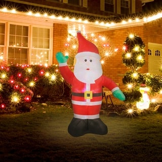 Link to 8Ft Santa Inflatable with Flashing Disco LED Lights Similar Items in Christmas Decorations