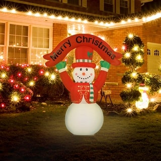 Link to 8Ft Snowman with Merry Christmas Banner inflatable and LED Lights Similar Items in Christmas Decorations