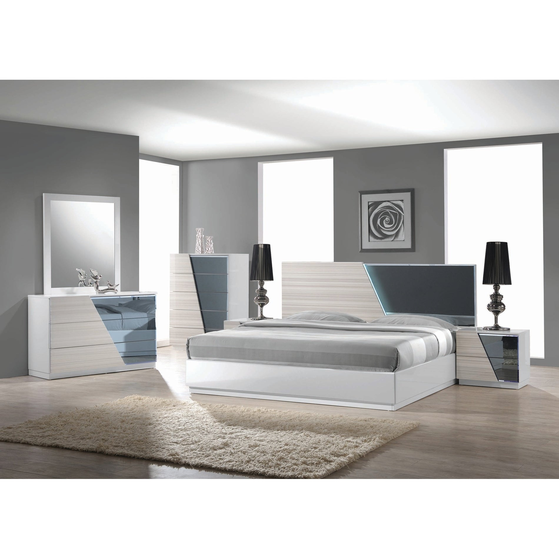 Zebra Grey 5 Piece Platform Bedroom Set