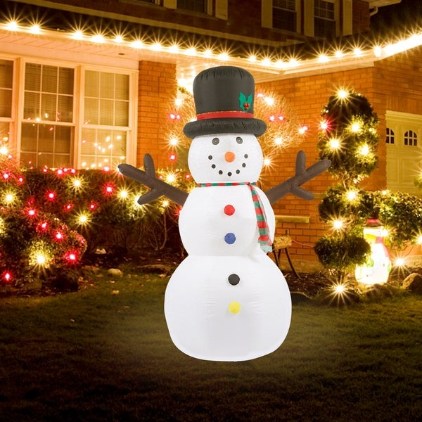 8Ft Snowman Inflatable with Flashing Disco LED Lights