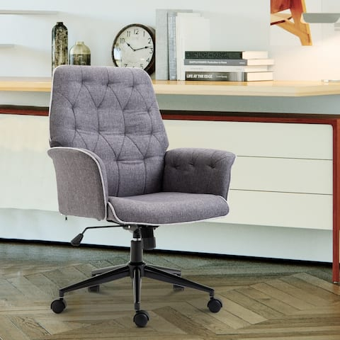 Adjustable Modern Linen Upholstered Office Chair with Lumbar Support and Arms
