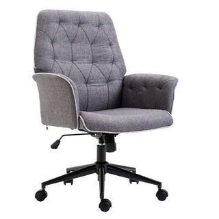 HOMCOM Adjustable Modern Linen Upholstered Office Chair with Lumbar Support and Arms